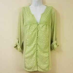 NY Collection Green Button Down Blouse New